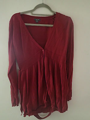 Patch maternity cardigan large maroon