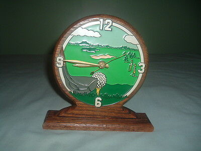 """Clock-Desk Top Golf Clock- Wooden--Works Perfect-8 Inches Long X 8"""" Inches High-"""