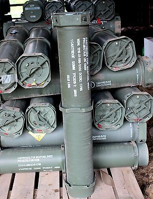 """Army Ammunition  Military Tube Can Green Container Metal 120 MM Ammo 44"""""""