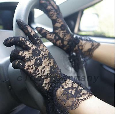 UV Protection Wedding Bridal Driving Wrist Length Short Floral Lace Gloves Hot