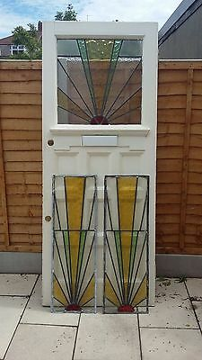 Victorian Original Front Door - Stained Glass with 2 FULL matching Side panels