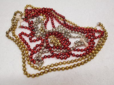 """Vintage Mercury Glass Beads Garland 3/8"""" Red Gold Silver approx 200"""" or 16' 8"""""""