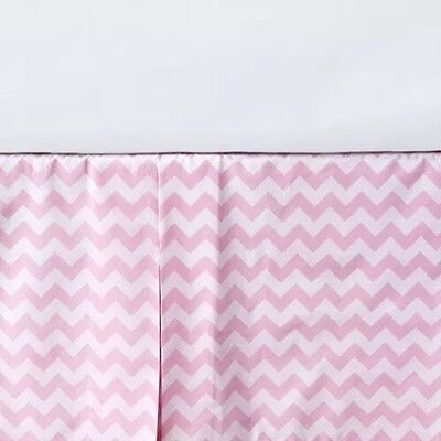 Pottery Barn Kids Organic Cotton Pink Chevron Harper Crib Skirt $59