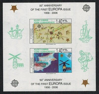 Turkish Cyprus 50th Anniversary Europa Imperf S/S #425a variety NH (Mi 7 €)