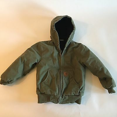 Carhartt Boys Sz 8/10 Green Jacket Hooded Canvas Quilted Lined Coat Full Zip CC