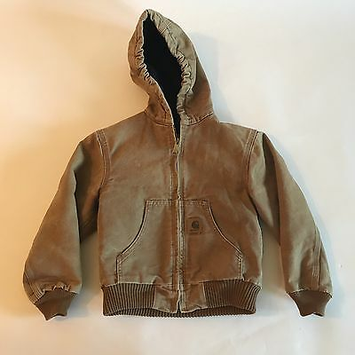 Carhartt Boys Sz 6/7 Brown Jacket Hooded Canvas Quilted Lined Coat Full Zip CC