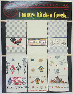 12 Counted Cross Stitch Designs Country Kitchen Towels Pattern Instruction Book