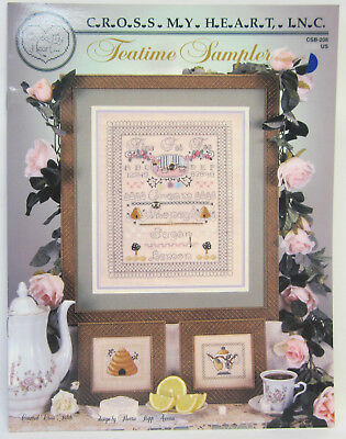 Counted Cross Stitch Pattern Instruction Book Tea Time Sampler By Cross My Heart