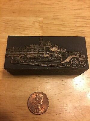Vintage Printing Letterpress Printers Block, Old Fashioned Fire Engine Truck