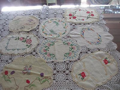 Vintage lot of 8 Hand Embroidered Crocheted Doilies
