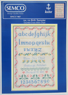 Counted Cross Stitch Pattern Instruction Book Birth Sampler Semco Cross My Heart