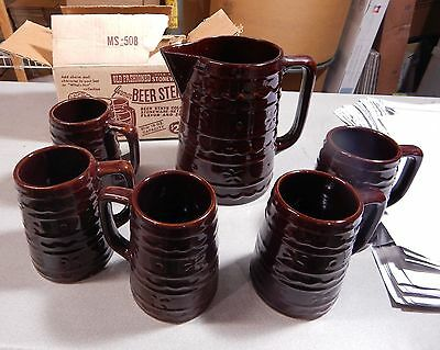 5 Vintage Marcrest Daisy and Dot Stoneware Mugs with Pitcher  3 in Box