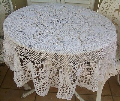 Shabby Vintage Crochet LaceTable Cloth Round Belle Brocante Linen