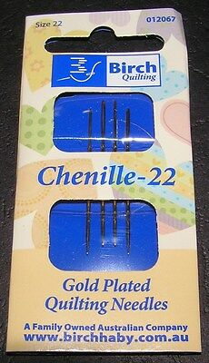 4 Chenille Needles Size 22 Gold Plate Birch Quality Cross Long Stitch Embroidery