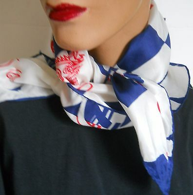 Scarf - Red, White & Blue - 100% Silk - Hand Rolled Hand Stitched-Made In Japan