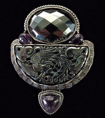Large AKR Amy Kahn Russell Carved Bird of Paradise Hematite Amethyst Pin/Pendant