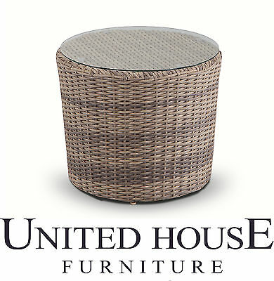 Outdoor Wicker Round Coffee Side Table Glass Rattan Cane Patio Garden Furniture
