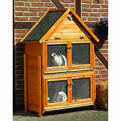 Hard-sided Rabbit Hutch New Stable Rabbit Weatherproof Wooden House Honey Brown