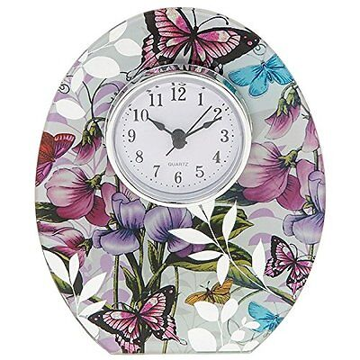 Botanical Sweet Pea Colourful Butterfly Clock New Boxed