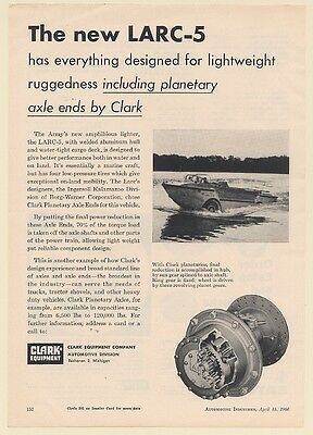 1960 Army LARC-5 Amphibious Vehicle Clark Equipment Planetary Axle Ends Print Ad