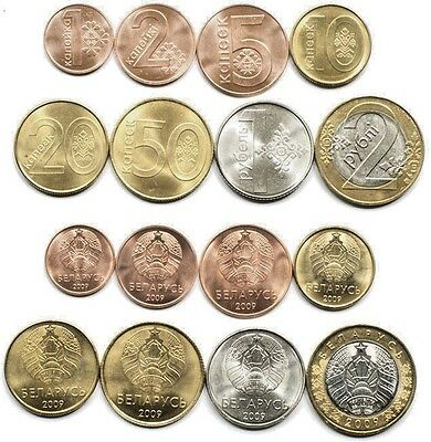 Belarus 8 coins set 2009 First belarusian coins selected with no spots (#2751)