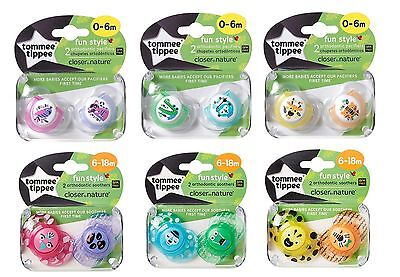 Tommee Tippee Soothers Dummy Fun Style Closer to Nature 0-18m x2