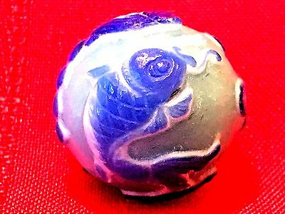 "Fish & Lily Pad 3""/76.2Mm Antique Hand Carved Chinese Imperial Peking Glass Bead"