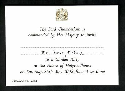 ROYAL INVITATION QUEEN ELIZABETH II PALACE OF HOLYROOD HOUSE 25th MAY 2002