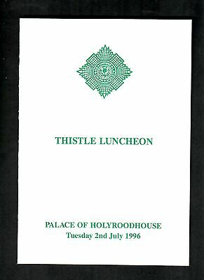 Royal Menu Queen Elizabeth Ii Thistle Luncheon  Palace Of Holyrood House  1996