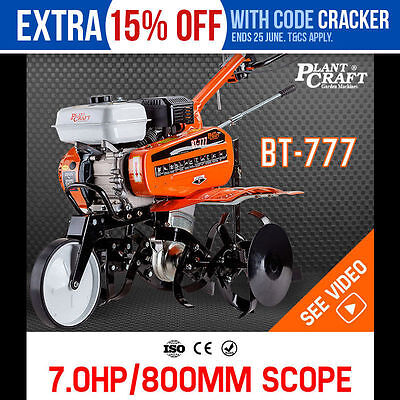 NEW PLANTCRAFT 7.0HP Cultivator Tiller Plough Self-Propelled Rotary Rototiller