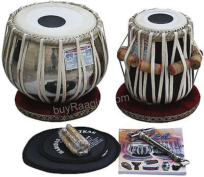 Haridas Vhatkar Tabla Drum Set,3.5KG Chromed Copper Bayan,Finest Dayan with Book