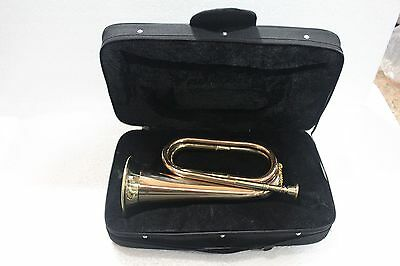"""brass army military funeral taps cavalry b-flat bugle 13"""" with mouthpiece+bag"""