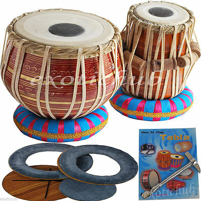 Tabla Drums Set~Red Brass 2.5 Kg Bayan~Shesham Wood Dayan~Hammer/cushion/cover
