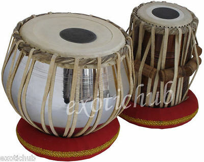 Sheesham Wood TB-0087 Hand Made Regular Style Brass Tabla Set Chrome Color