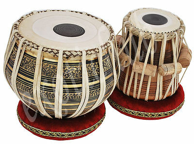 Tabla Drum Set~Black Brass 2.5 Kg Bayan~Shesham Wood Dayan~Free!hammer/cushion