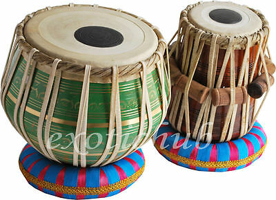 "Tabla Drum~Green Color""brass Bayan 2.5Kg~Shesham Wood Dayan~Hammer/cushion/cover"