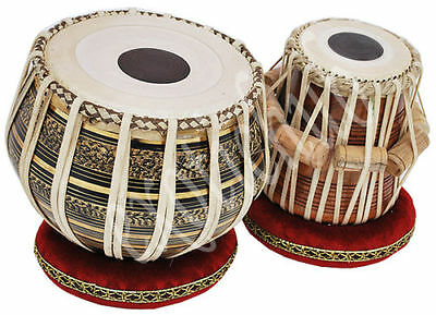Tabla Drum Chopra Pro Brass Bayan Deco Wood Dayan Ring+Hammer+Box Free