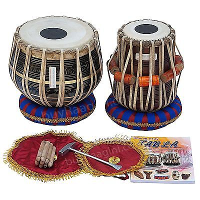 Tabla Drum Set Black Brass Bayan 3 KG , Finest Dayan with Book, Hammer, Cushions