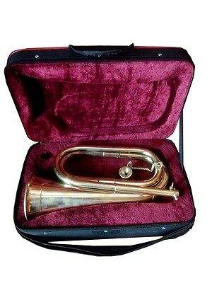 Bb TUNABLE GOLDEN FINISH^PROFESSIONAL:CHOOL ARMY MILITARIA BOY SCOUT BUGLE+CASE