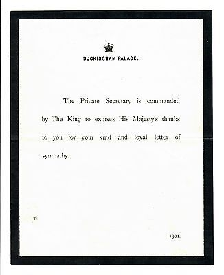 Buckingham Palace Letter Sent By King Edward Vii After Death Of Queen Victor1A