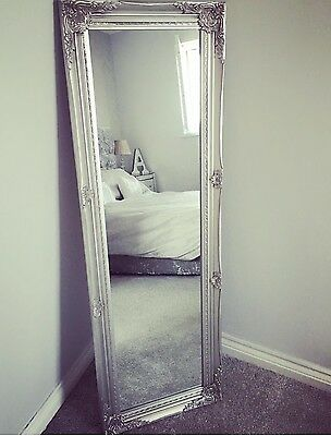 French Ornate Silver / Grey Tall / Freestanding Mirror Shabby Chic Antique BN