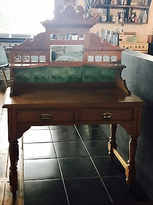 Antique Wash Stand w Beautiful Tiles