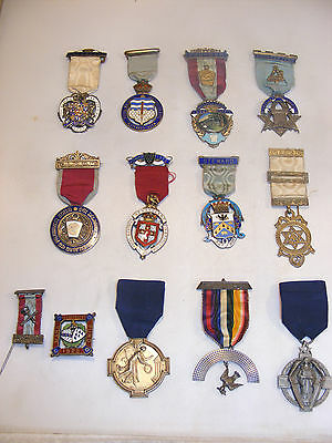 Collection Of 12 Antique Silver Masonic Jewels Medals