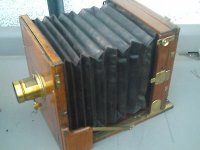 Very Rare Large Antique Wooden Plate  Camera