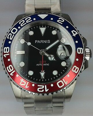 Parnis Automatic Gmt Submariner Power Reserve Mens Uhr Orologio Montre Watch