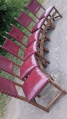 Set Of 6 Antique Heavy Oak French Large Dining Chairs Recently Re Leathered