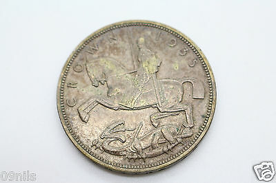 Silver Crown 1935 George V Rocking Horse Nice Patina Coin Great Britain #B3