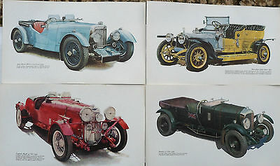 Set 4 Vintage Classic Car Prints BRIAN P POWELL 1966 Bentley Lagonda Aston Rolls