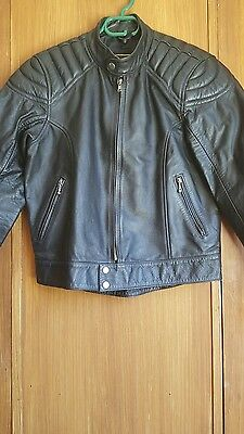STAGG black leather jacket (motor bike/casual)
