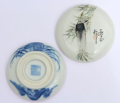 ANTIQUE Chinese Porcelain Blue White Box Qianlong Mark - Qing 18th 19th